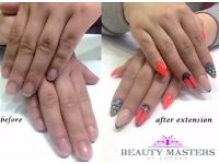 Nail extension, recontruction of bitten nail, shellac, manicure, pedicure, gel/ acrylic, tips/ forms