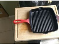 Red cast iron grill pan 26cm