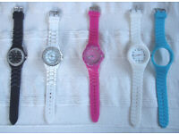 WATCHES: 4 Ladies' quartz analogue/jelly straps. Not working. New batteries? from £1.50 each.