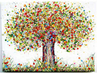 LARGE MODERN ART NEW RED & GREEN ABSTRACT TREE & POPPY FLOWERS PAINTING ON CANVAS   Free Delivery