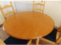 Light Teak Round Extending Dining Table And Chairs