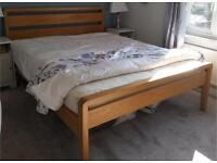 King size solid oak and veneer bed and mattress