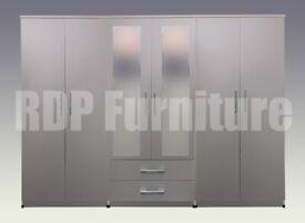 Beatrice wardrobe 4 you, 2,28m wide 6 door 2 drawer mirrored grey