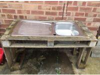 Children's outdoor mud kitchen, pretend play