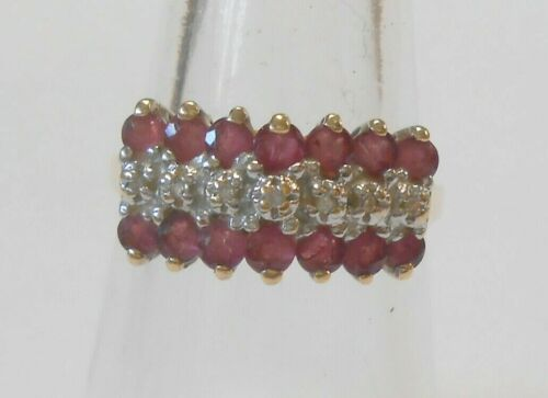 Lovely Vintage Estate Red Ruby & Diamond Tiered 10K Yellow Gold Ring Size 7.5