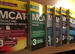 Princeton review MCAT materials + science workbook + AAMC guide