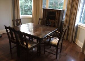 Antique wood dining set - table, 6 chairs, hutch