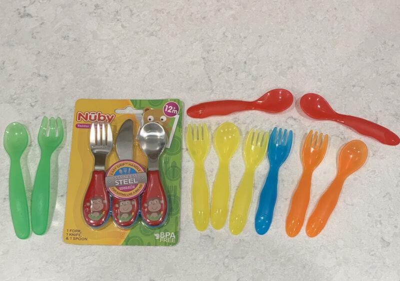 Toddler Utensils Stainless Steel Plastic Nuby Tomy Fork Knife Spoon Free Ship