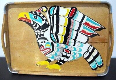 """HENRY SPECK Snr. (1908-71) Thunderbird Painting On Oak Panel Kwakiutl 17"""" x 13"""""""