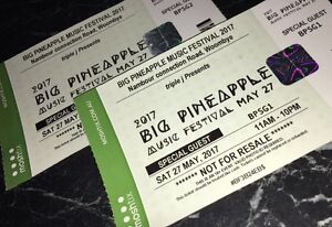 For sale 2x Big pineapple festival hard copy tickets Bray Park Pine Rivers Area Preview