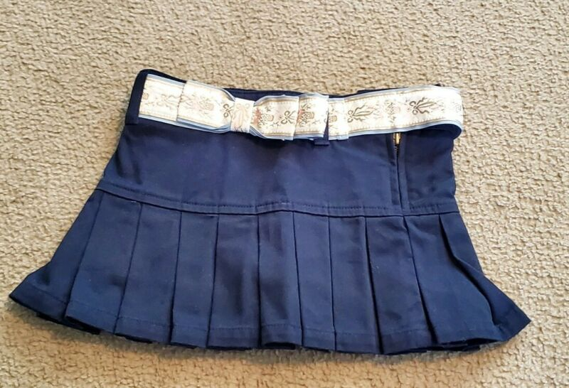 Girls Ralph Lauren Pleated Skirt Navy Blue 4 4t