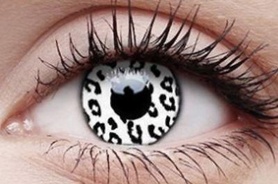 Crazy Contact Lens Lentilles Kontaktlinsen Fun Halloween White Leopard Anime UK ()