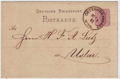 OSTERODE AM HARZ 1881 Klaucke-Stempel auf Postkarte (11600)