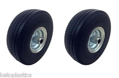 2 x Off Set Galvanised PU Trolley Sack Truck Wheel Puncture Proof 4.10/3.50 - 4