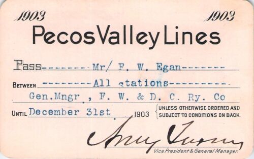 1903 PECOS VALLEY TRIP LOW # 837 RAILROAD RAILWAY RR RY PASS RARE