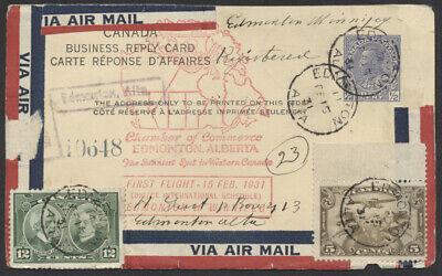 1931 Feb 15 Edmonton - Winnipeg Flight, Registered Reply PSC, Twice Used Unusual