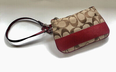 Coach Signature Canvas Print With Red Band Wristlet, Never Used Before