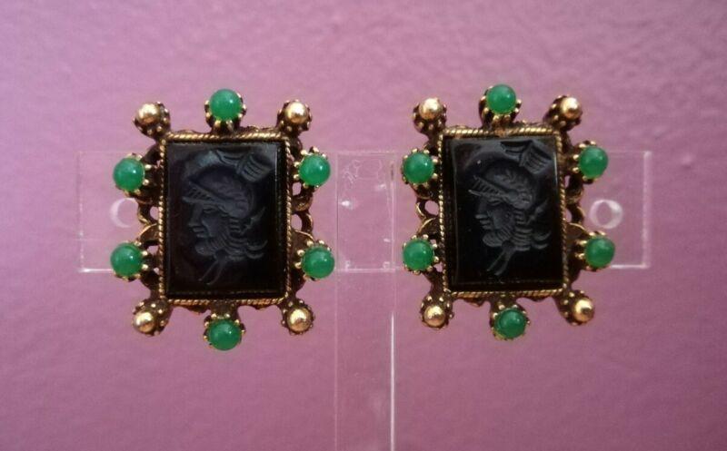 Vintage Antique Gold Filled Black Intaglio Cameo Screwback Earrings