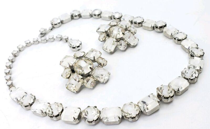 Vintage Givre Glass Milk White Earrings Choker necklaces Set