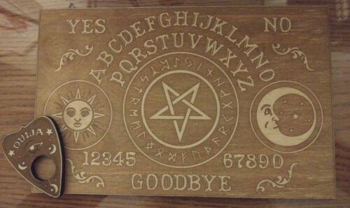 Wooden Vintage style Celestial Ouija Board & Planchette   Wood Spirit Board