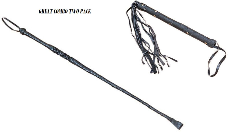 GENUINE BLACK LEATHER RIDING CROP WHIP & LEATHER CAT WHIP