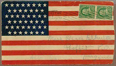 he Postal Abdeckung, 45 Sterne Flagge, Gestempelt 1898 (Patriotische Sterne)
