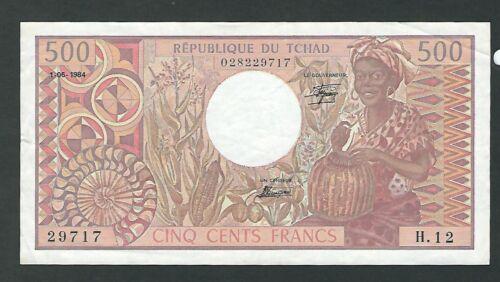 CHAD - Five Hundred (500)  Francs 1984