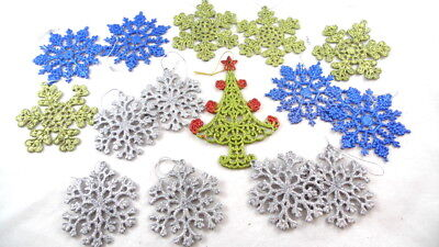 15 Assorted Snowflake Glitter Christmas Ornaments Flat Decoration  Assorted Glitter Christmas Ornaments