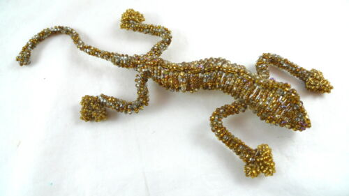 "Gold Beaded Lizard Gecko Figure 9"" Home Decor"