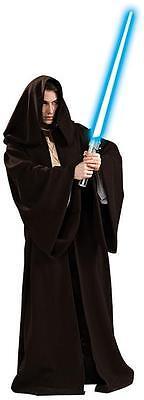 Super Deluxe Hooded Jedi Robe Star Wars Dark Brown Cloak Adult Size Standard ()
