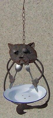 Bird Feeder Cat NEW hanging metal and melamine resin 6 1/4