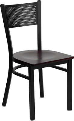 Lot Of 20 Metal Perforated Back Restaurant Chairs With Mahogany Wood Seats