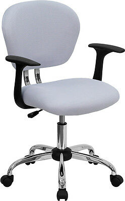 Mid Back Office Desk Chair With Arms White Mesh Upholstery With Chrome Accents