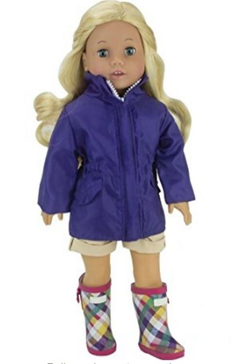 "Pretty Plaid Wellies and Rain Parka Coat Jacket for 18"" American Girl Doll Clothes"