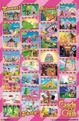 Candy Crush Saga Poster ~ 31 Szenen 22x34 Videospiel King Facebook Worlds ()