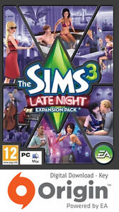 THE SIMS 3 LATE NIGHT EXPANSION PACK PC AND MAC ORIGIN KEY