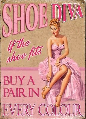 Retro Vintage Style Metal Sign Shoe Diva 50's Pinup, Funny/Humorous Home Decor - 50's Style Home Decor