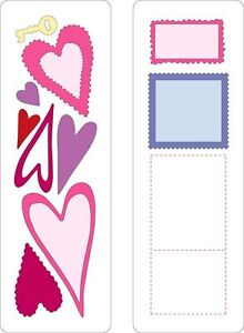 Cuttlebug 2-pk 2 x 6 HEARTS & STAMPS cutting dies -$12