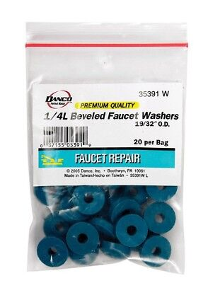 Bag of 20 Faucet washers 1/4in  Large Rubber Beveled 19/32 O.D