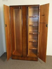 Vintage Golden Walnut Compactum Double Wardrobe