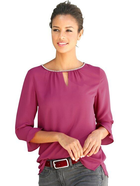 Amy Vermont Bluse Mit dekorativen Perlen. Fuchsia. NEU!!! SALE%%%