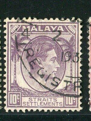 D261475 Malaya Straits Settlements VFU King George VI 10 c. 1937-41 Sc. 244