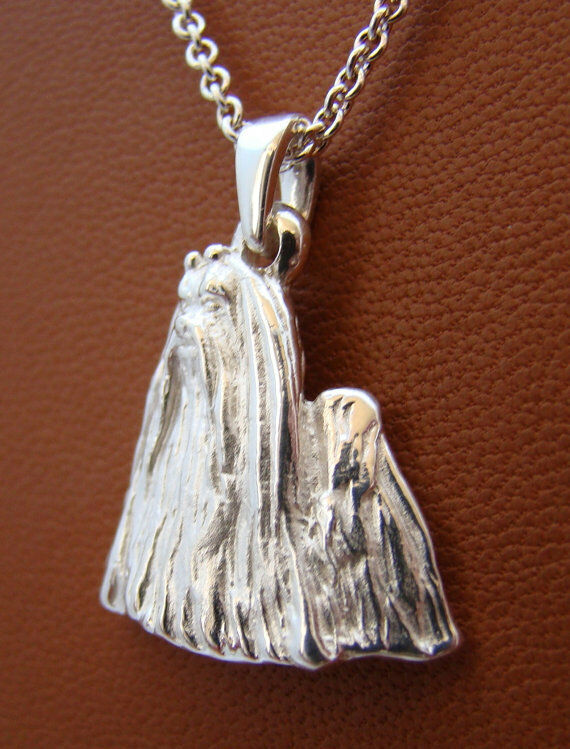 Small Sterling Silver Maltese Standing Study Pendant