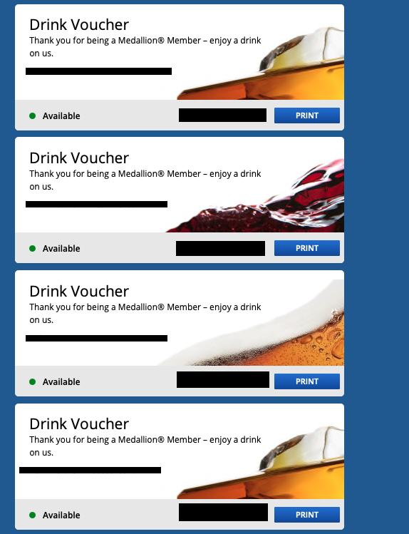 4 Delta Airlines Drink Vouchers Coupon Expires 1/31/2022 - Beer Wine Spirit Four - $29.95