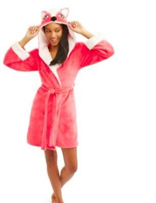 (NEW Body Candy Ladies Huggable Luxe Critter Sleepwear Robe Pink Fox Size M)