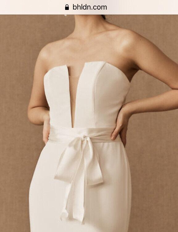 Bhldn Madeleine Fig Simply Silk Sash Wedding Bride Ivory