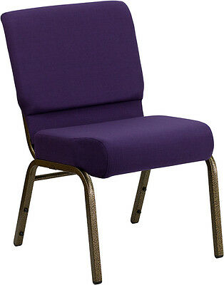 Lot Of 50 21 Extra Wide Royal Purple Fabric Stacking Church Chair