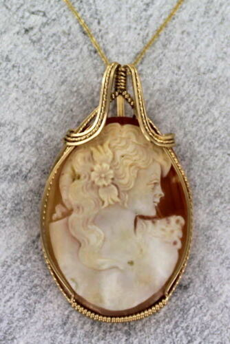 Large Hand Carved Shell Cameo  Necklace in 14kt rolled gold Wire Wrapped