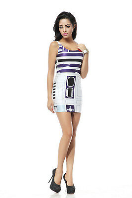 R2D2 Damen Kleid Dress Star Wars Droide Robot 2 Kostüm Fasching Karneval ()