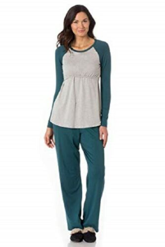 MAJAMAS PASTIME MATERNITY NURSING PAJAMAS LOUNGE SET HOLLY GREEN GRAY S NEW